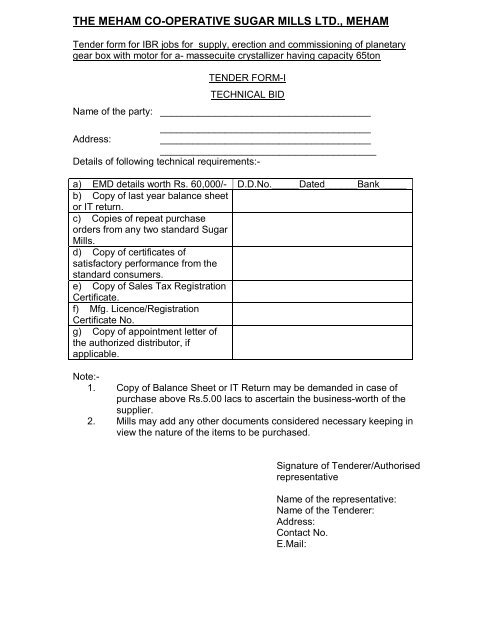 Tender form for IBR jobs for supply, erection and commissioning of