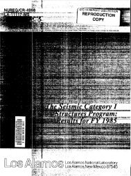 The Seismic Category I Structures Program : Results for FY 1985