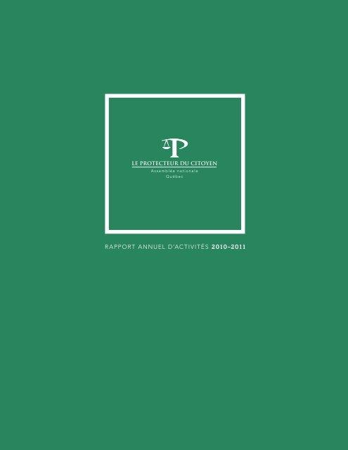 rapport annuel d'activités 2010-2011 - Le Protecteur du citoyen