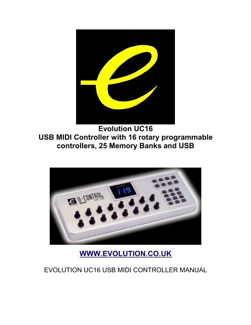 evolution uc16 usb midi controller with 16 rotary programmable. Black Bedroom Furniture Sets. Home Design Ideas