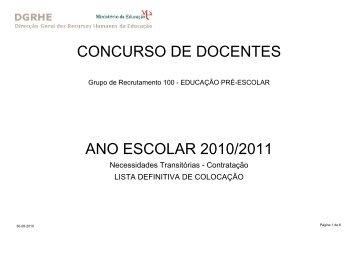 concurso de docentes ano escolar 2010/2011 - Sindicato dos ...