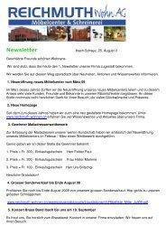 Newsletter - REICHMUTH Wohn AG