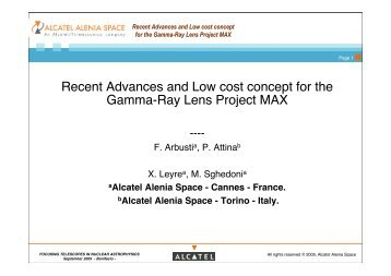 Recent Advances and Low cost concept for the Gamma-Ray ... - Cesr