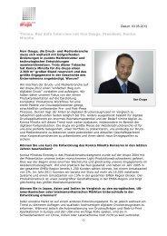 Thema: Red Sofa Interview mit Ken Osuga ... - Messe Düsseldorf