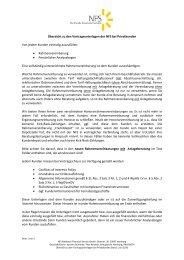 Übersicht zu den Vertragsunterlagen bei Privatkunden