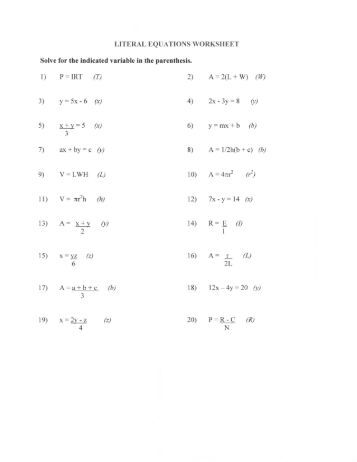Worksheets Literal Equations Worksheets algebra 1 solving literal equations worksheet intrepidpath 3 8 notes algebra
