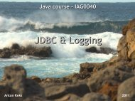 JDBC & Logging - tud.ttu.ee