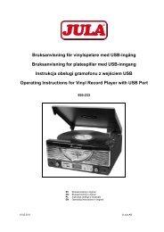 Bruksanvisning för vinylspelare med USB-ingång ... - Jula