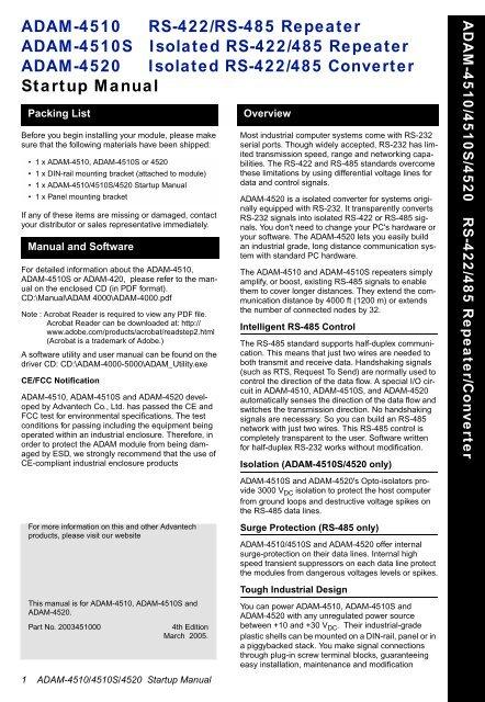 Adam-4520-ee rs-232 to rs-422/485 converter | advantech b+b.