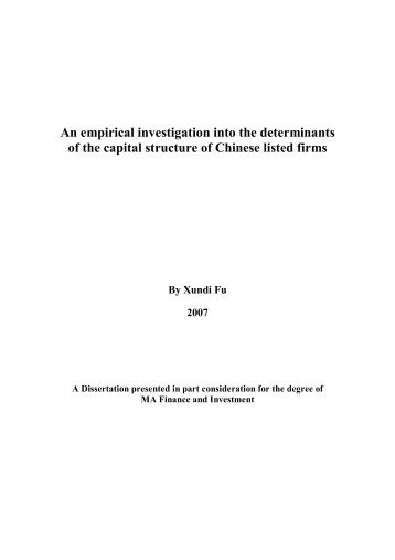 An empirical investigation into the determinants of the capital ...