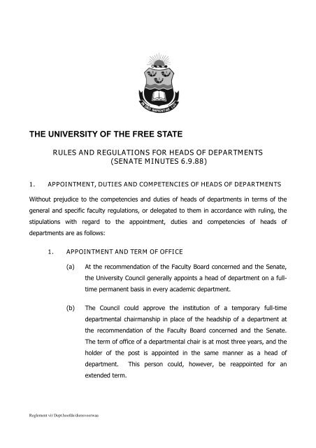 Rules and regulations for heads of departments - University of the ...