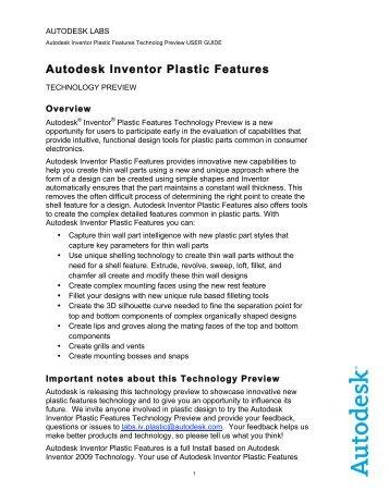 Autodesk Inventor Plastic Features - Widom-assoc.com