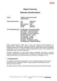 "Raport koÃ…Â""cowy Naprawa transformatora - AEG Industrial Engineering"