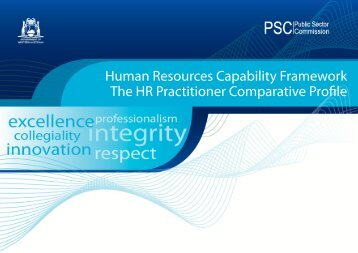 Human Resources Comparative Profile - Public Sector Commission