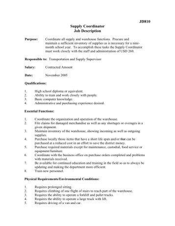 JOB DESCRIPTION JOB TITLE Public Education Coordinator ...