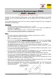 Technische Bestimmungen WAKC ADAC - Bambini