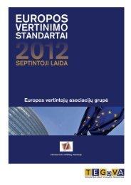 europos vertinimo standartai, 2012 - TEGoVA