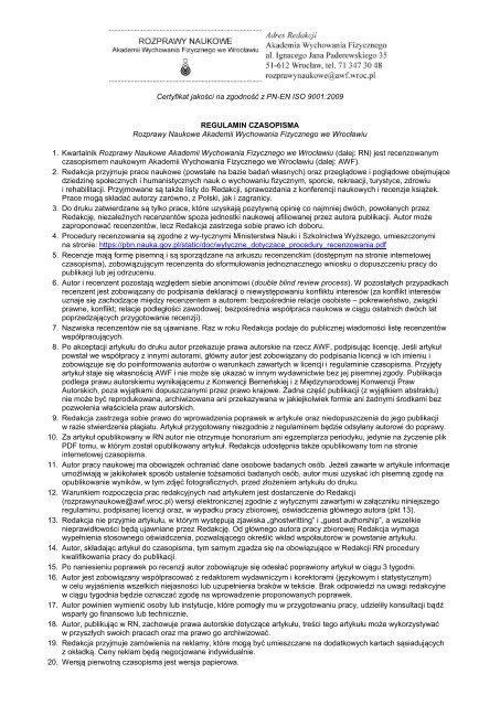 Regulaminie czasopisma - Akademia Wychowania Fizycznego we ...