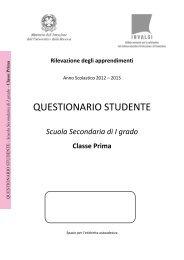 Questionario studente classe I secondaria di primo grado - Invalsi