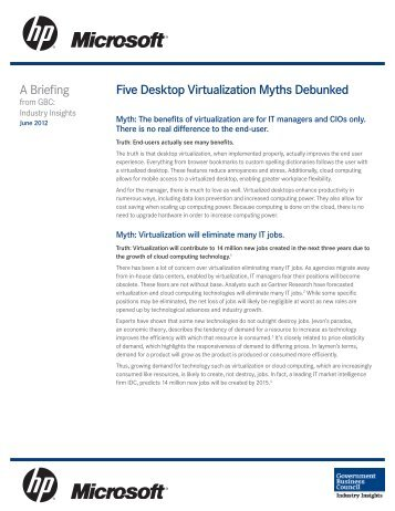 Five Desktop Virtualization Myths Debunked A Briefing