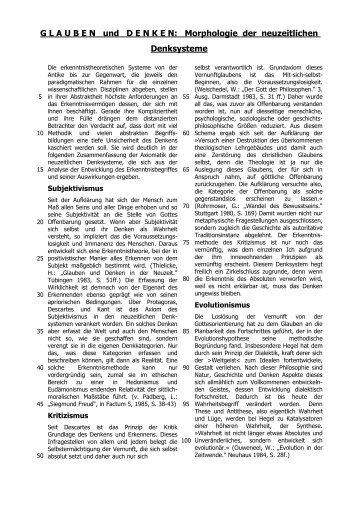 G L A U B E N   und D E N K E N: Morphologie der neuzeitlichen ...