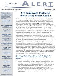 Are Employees Protected When Using Social Media? - Honigman