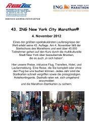 43. ING New York City Marathon® - REISEZEIT Tourismus GmbH