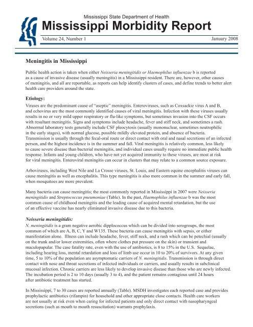 Meningitis in Mississippi - Mississippi State Department of Health