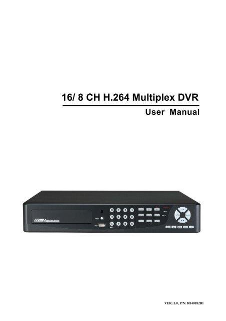 User Manual 16/ 8 CH H 264 Multiplex DVR - netZeye