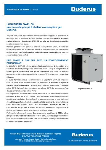 logatherm gWpl 38, une nouvelle pompe à chaleur à ... - Buderus