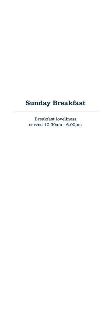 Sunday Breakfast menu - Enjoy Norwich