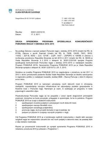 2. sprememba programa POMURJE 2015 - Služba Vlade Republike ...