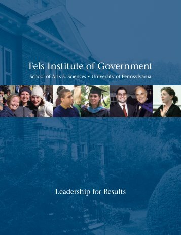 d istinguished Lecture series - Fels Institute of Government ...