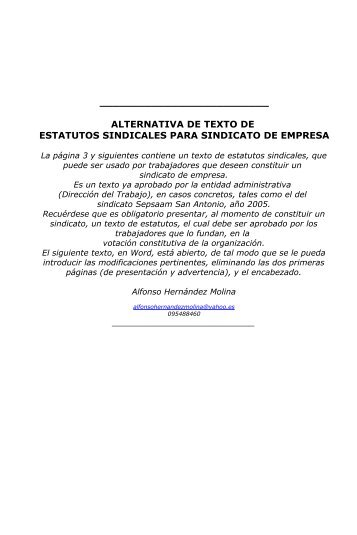 alternativa de estatutos de sindicato de empresa - Luis Emilio ...
