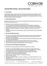 Cobweb Web Hosting - Service Description - Cobweb Solutions