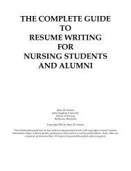The Resume Guide: - Johns Hopkins University School of Nursing