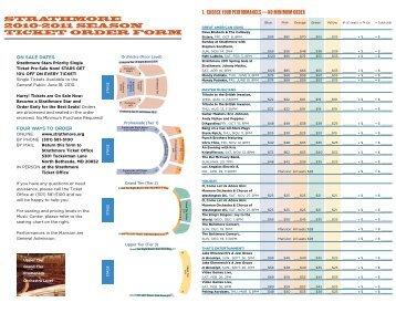 STRAThmORe 2010–2011 SeASOn TICKeT ORDeR FORm