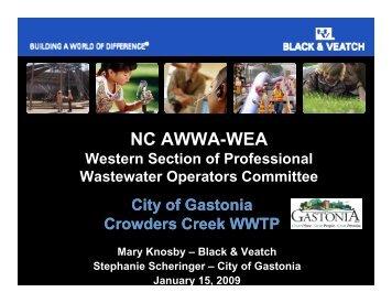 City of Gastonia, Crowders Creek WWTP - NC AWWA-WEA