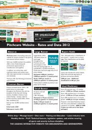 Pitchcare Website - Rates and Data 2012