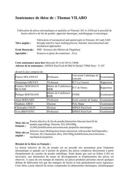 Resume de these_Thomas Vilaro - MINES ParisTech