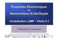 Propriétés Électroniques Nanocristaux Si-Ge/Oxyde ... - IM2NP