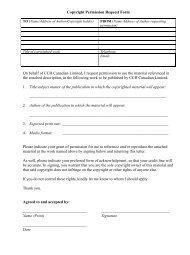 Copyright Permission Request Form On behalf of CCH Canadian ...