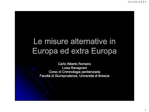 Le misure alternative in Europa ed extra Europa - Ristretti.it