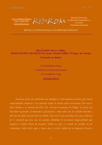 Fernández de Buján - revista internacional de derecho romano-index