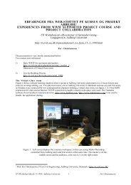 erfaringer fra web-střttet pe kursus og projekt arbejde - IT in Civil ...