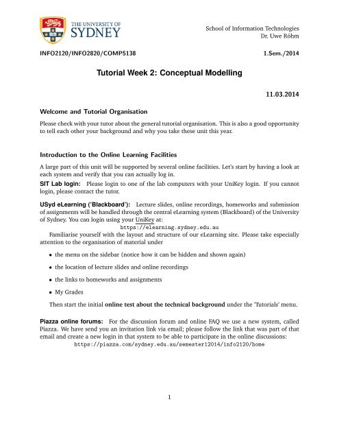 Tutorial Week 2: Conceptual Modelling - The University of Sydney