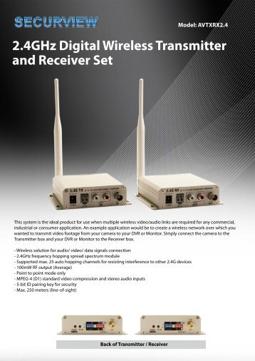 2.4GHz Digital Wireless Transmitter and Receiver Set