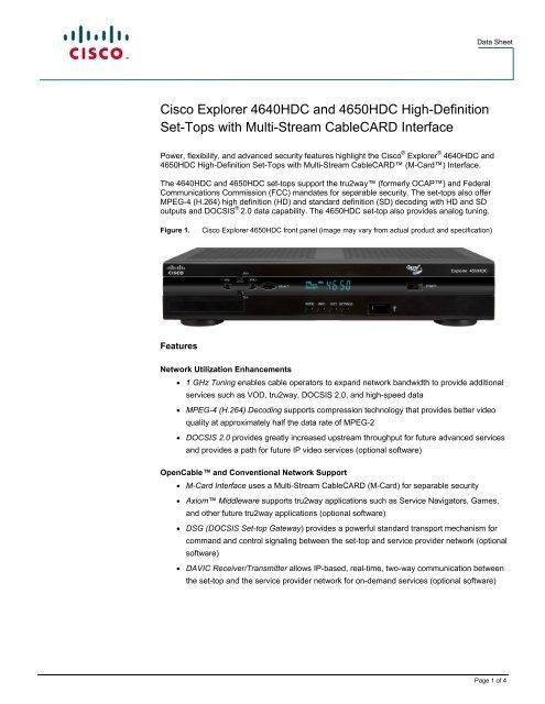 Cisco Explorer 4640HDC and 4650HDC High     - Mega Hertz