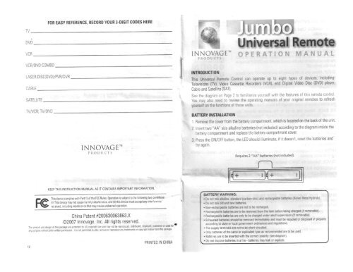 Full page fax print - Universal Remote Control Codes