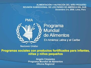 Programas sociales con productos fortificados para infantes, niñas y ...